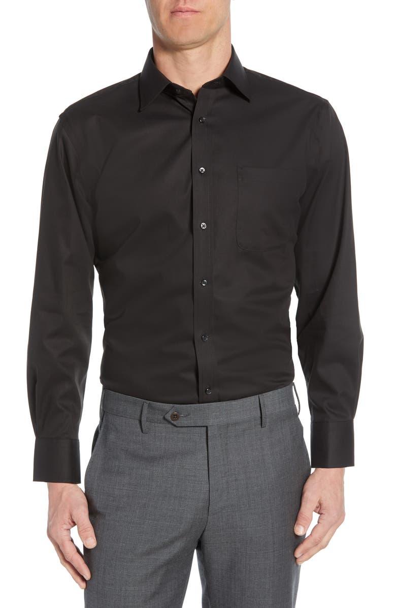NORDSTROM MEN'S SHOP Nordstrom Mens Shop Traditional Fit Non-Iron Dress Shirt, Main, color, BLACK