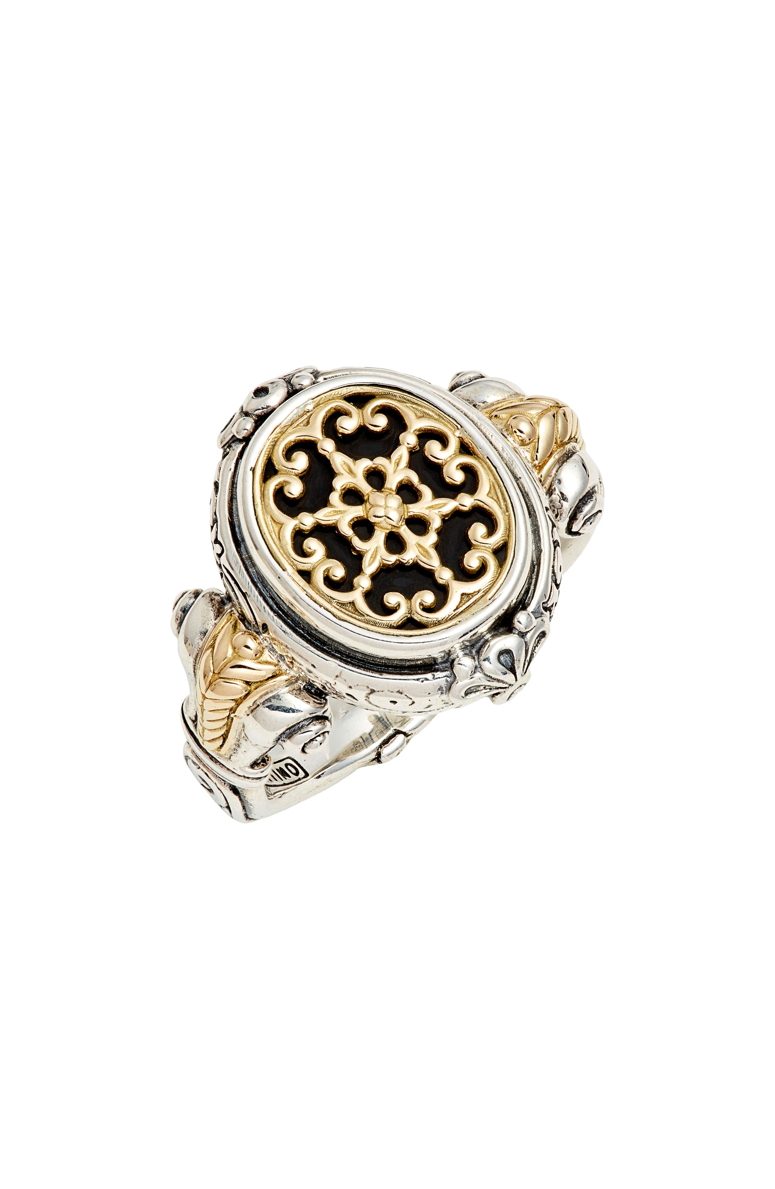 A signet ring inspired by the history of ancient Greece features an ornate design handcrafted from 18-karat gold filigree, onyx and sterling silver. Style Name: Konstantino Calypso Signet Ring. Style Number: 5850518. Available in stores.