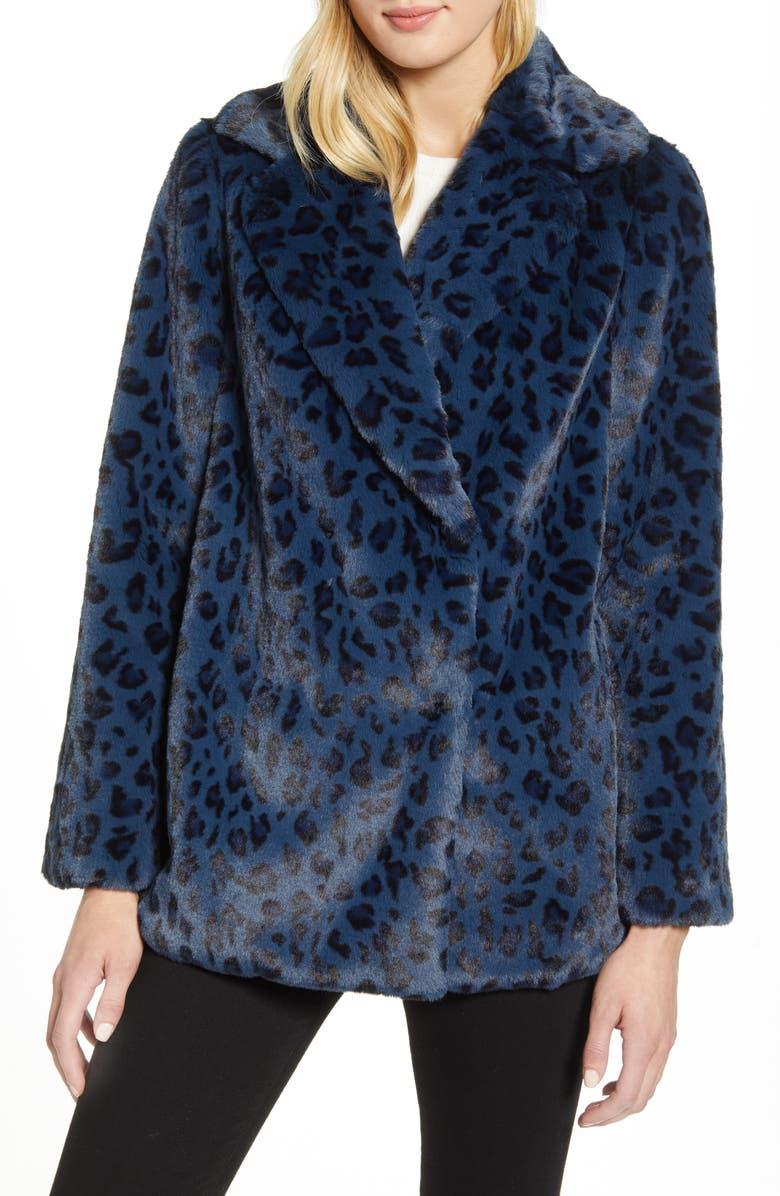 TED BAKER LONDON Faux Leopard Fur Jacket, Main, color, DK-BLUE