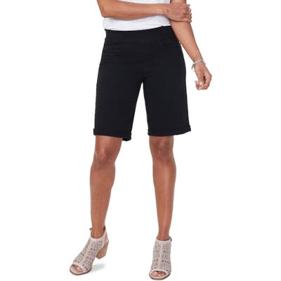 Nydj Roll Cuff Pull-On Denim Shorts, Black