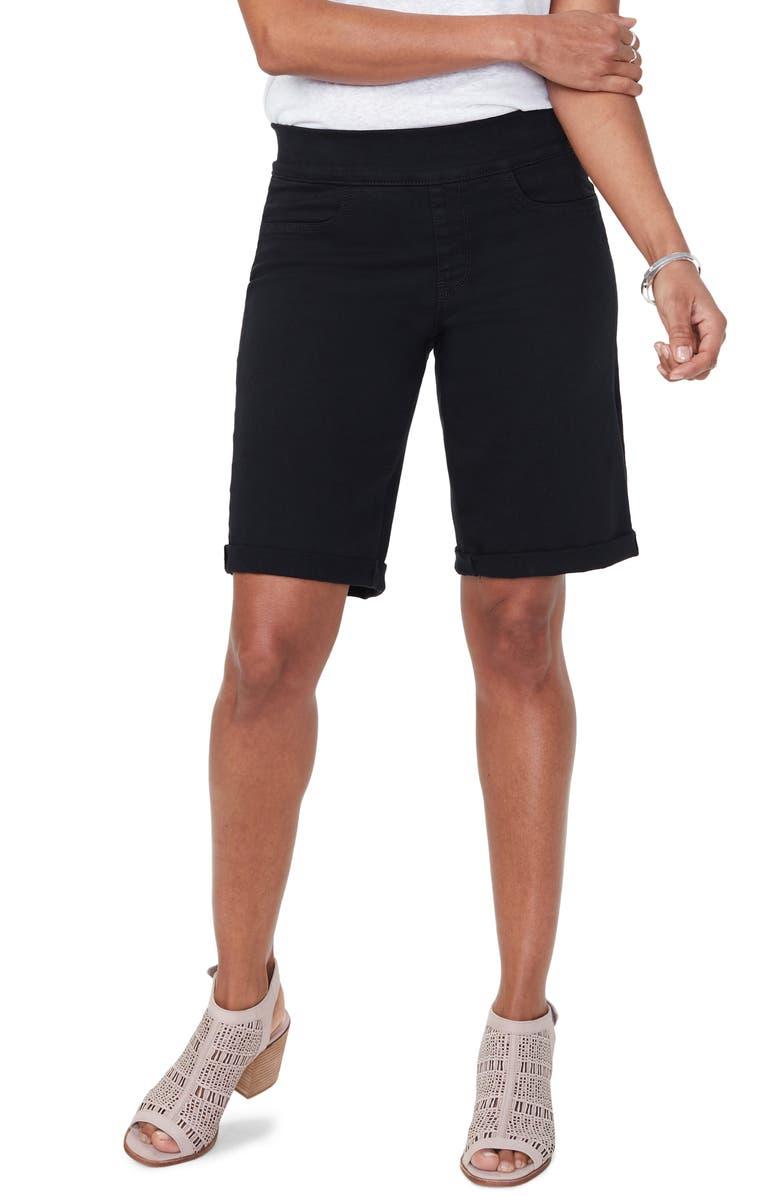 NYDJ Roll Cuff Pull-On Denim Shorts, Main, color, BLACK