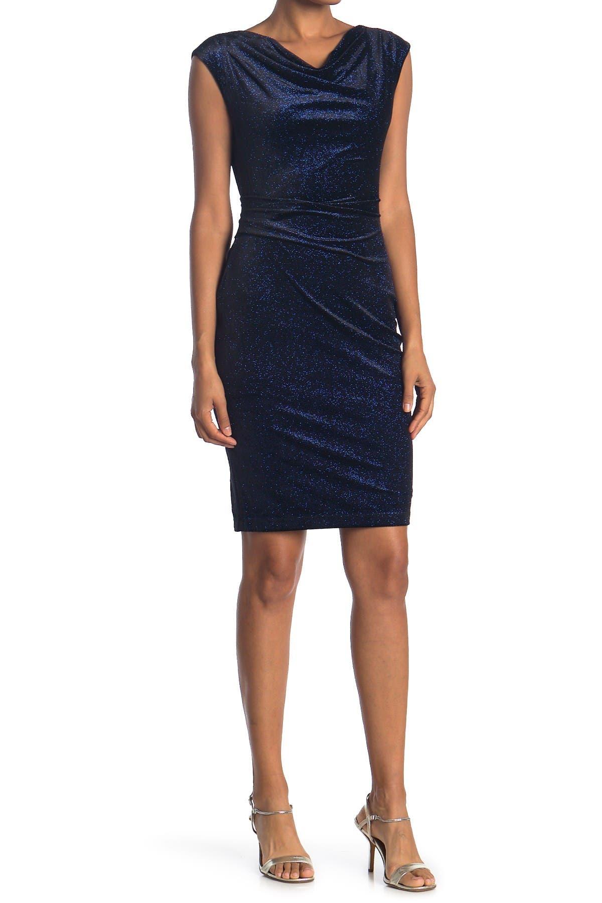 Image of Eliza J Velvet Cap Sleeve Sheath Dress