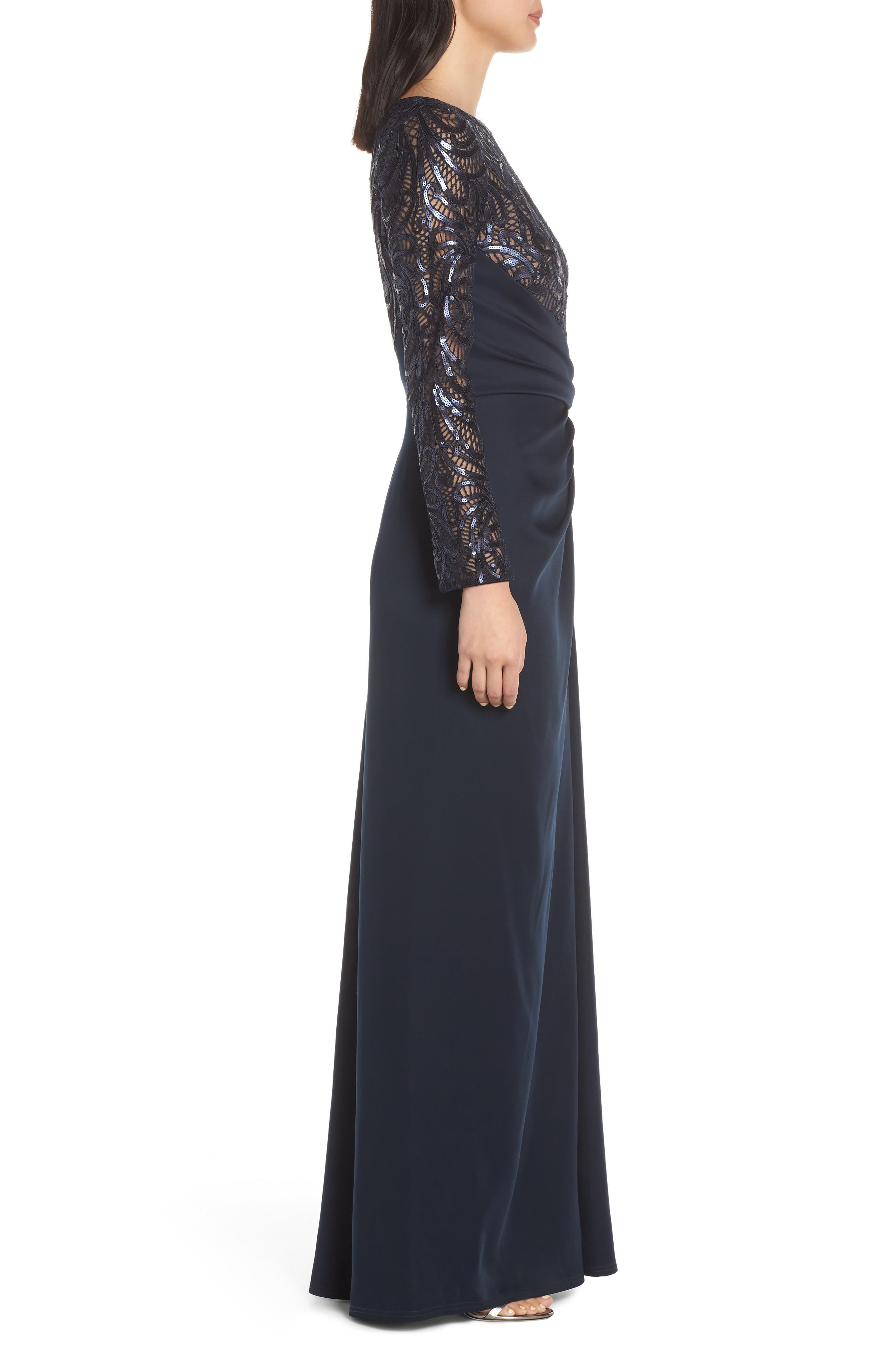 ,                             Sequin Lace & Jersey Evening Dress,                             Alternate thumbnail 4, color,                             NAVY/ NUDE