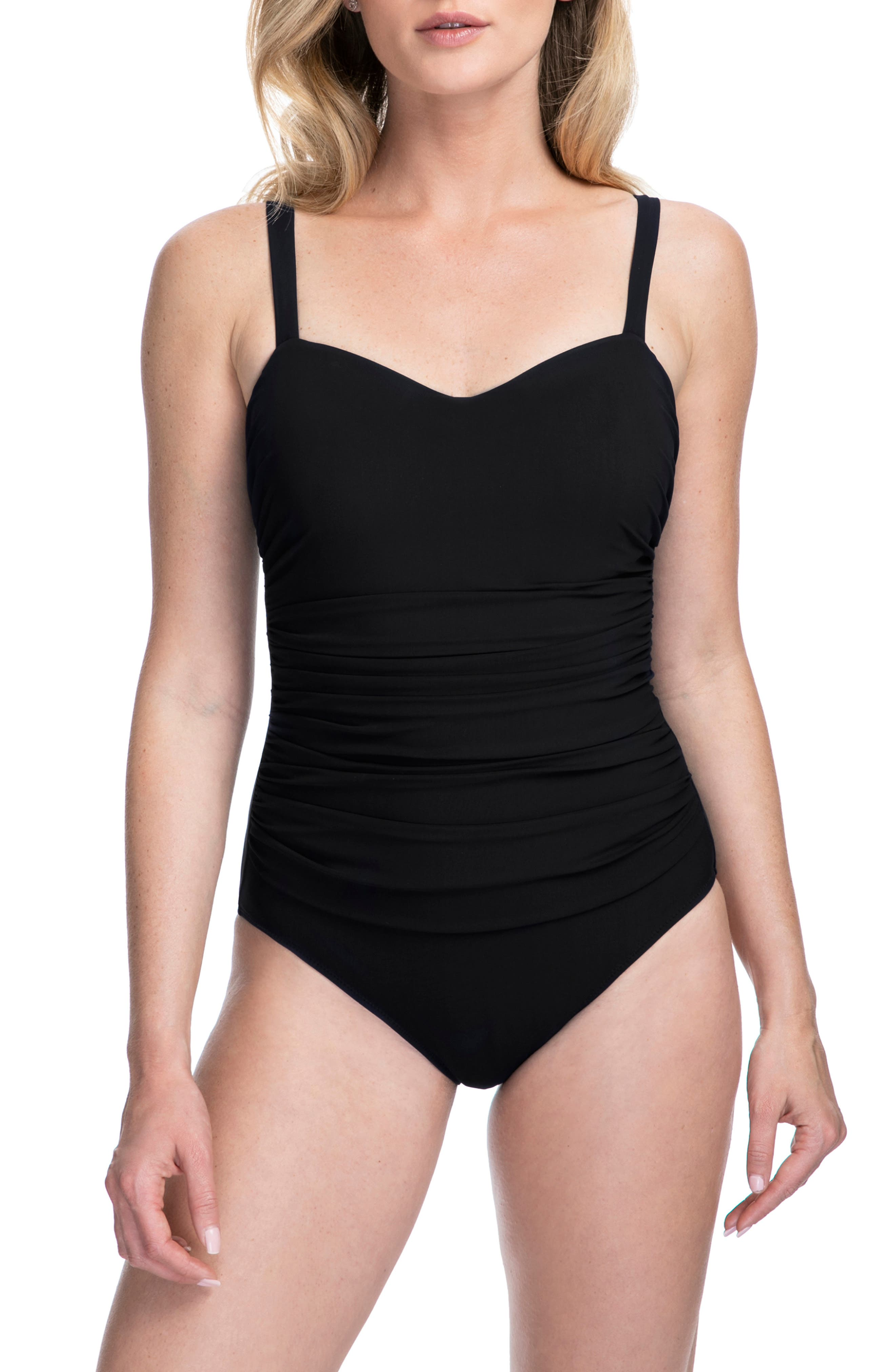 Profile By Gottex D-Cup Sweetheart Neck One-Piece Swimsuit, Black