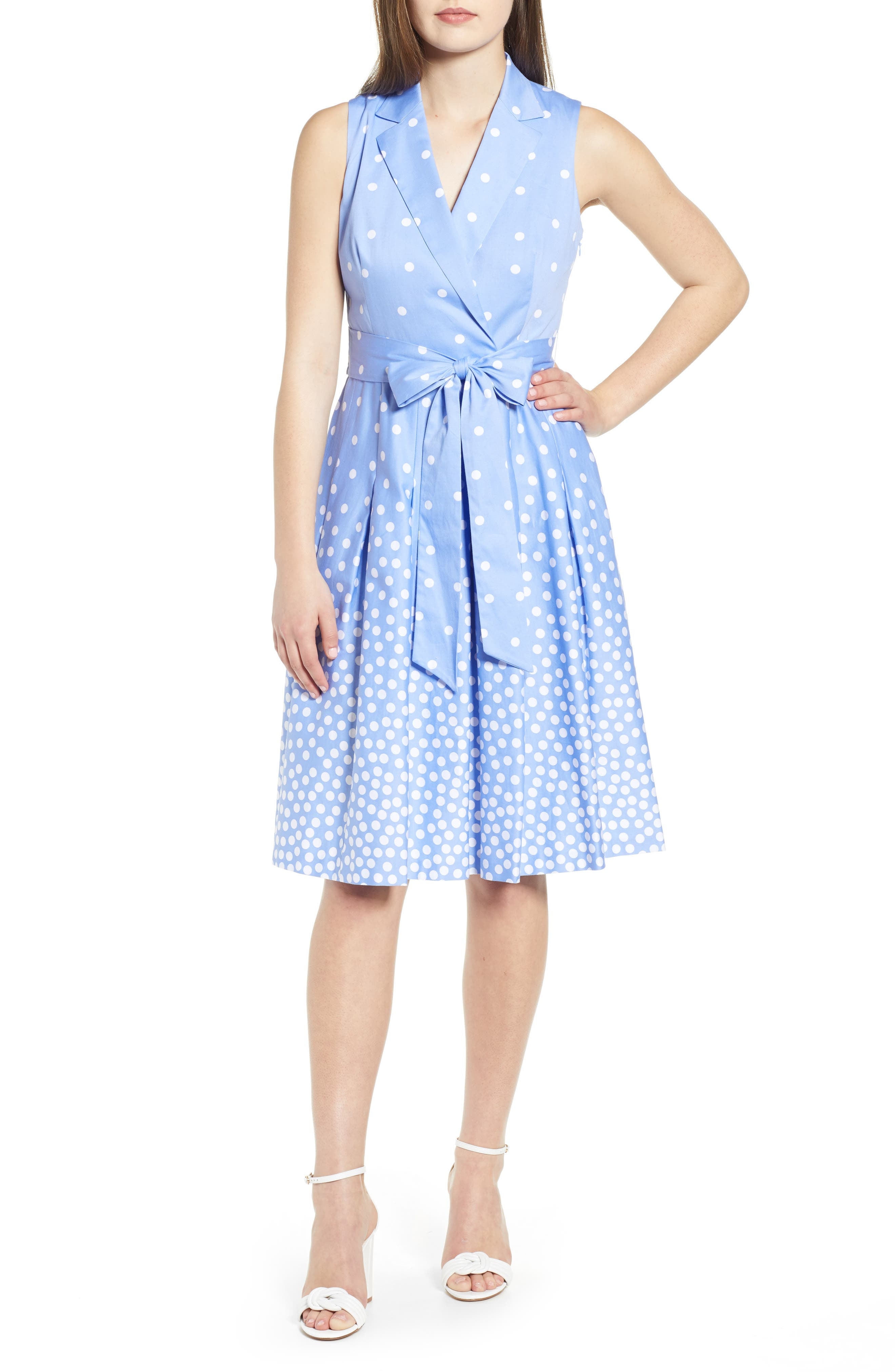 Anne Klein Scattered Dot Tie Front Dress, Blue