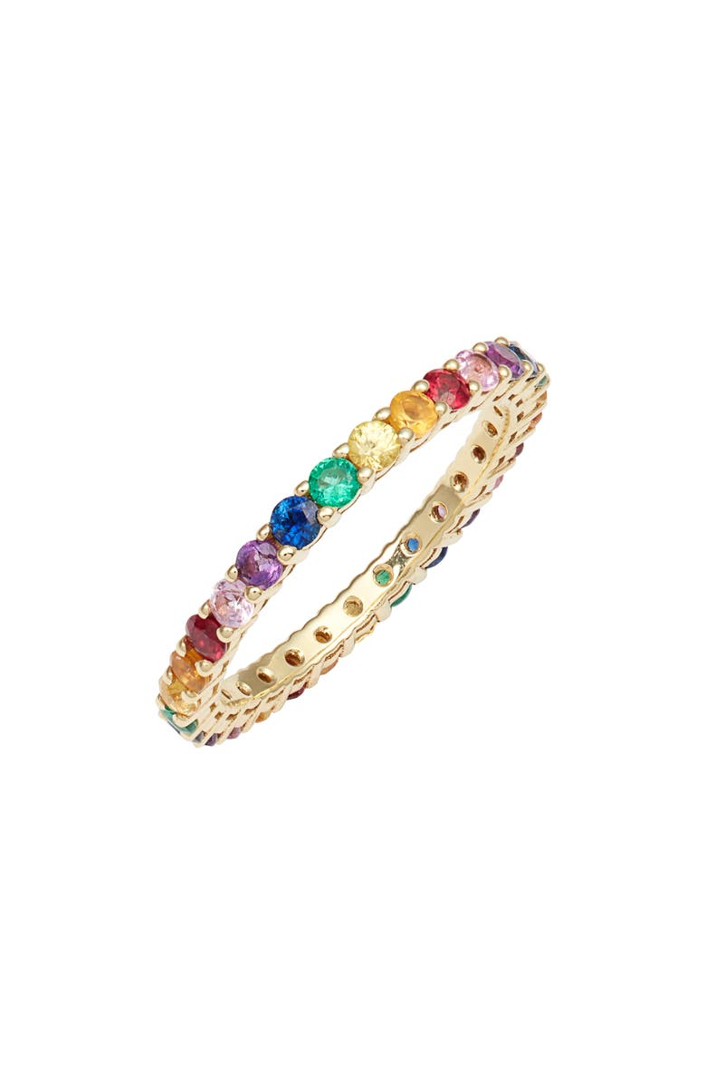 BONY LEVY Pavé Stone Eternity Ring, Main, color, YELLOW GOLD