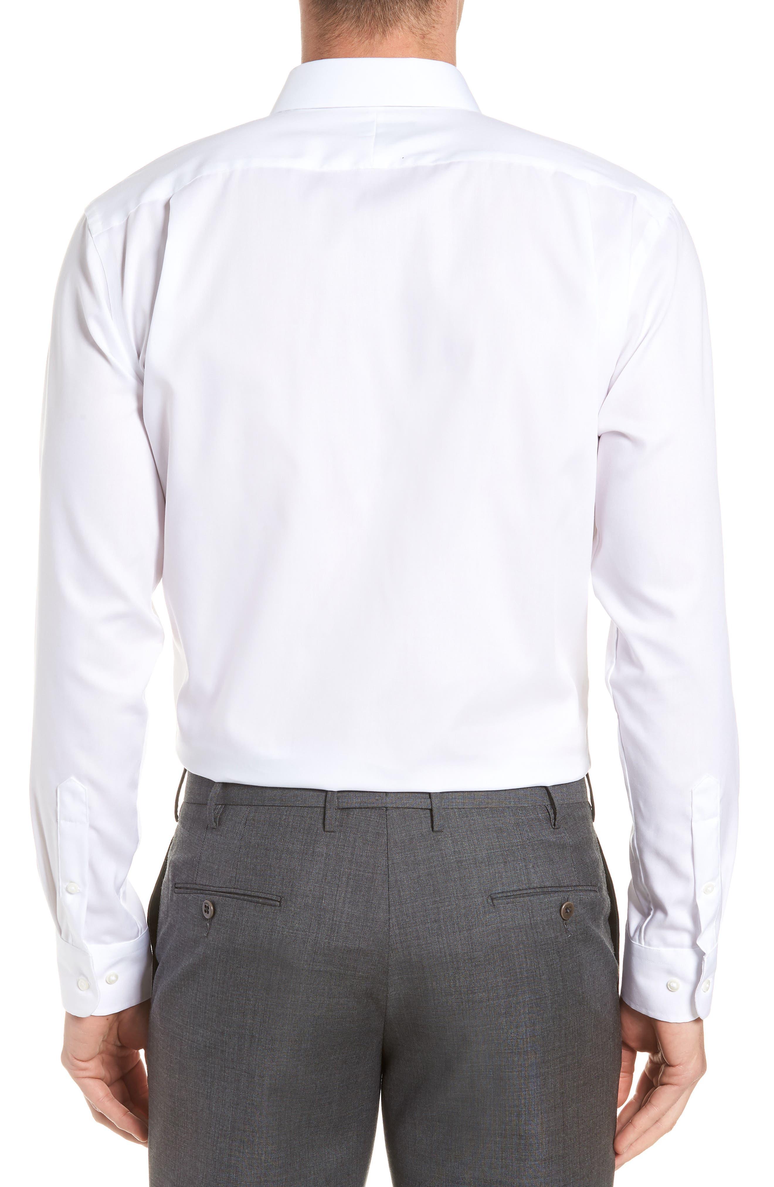 ,                             Trim Fit Non-Iron Dress Shirt,                             Alternate thumbnail 3, color,                             WHITE