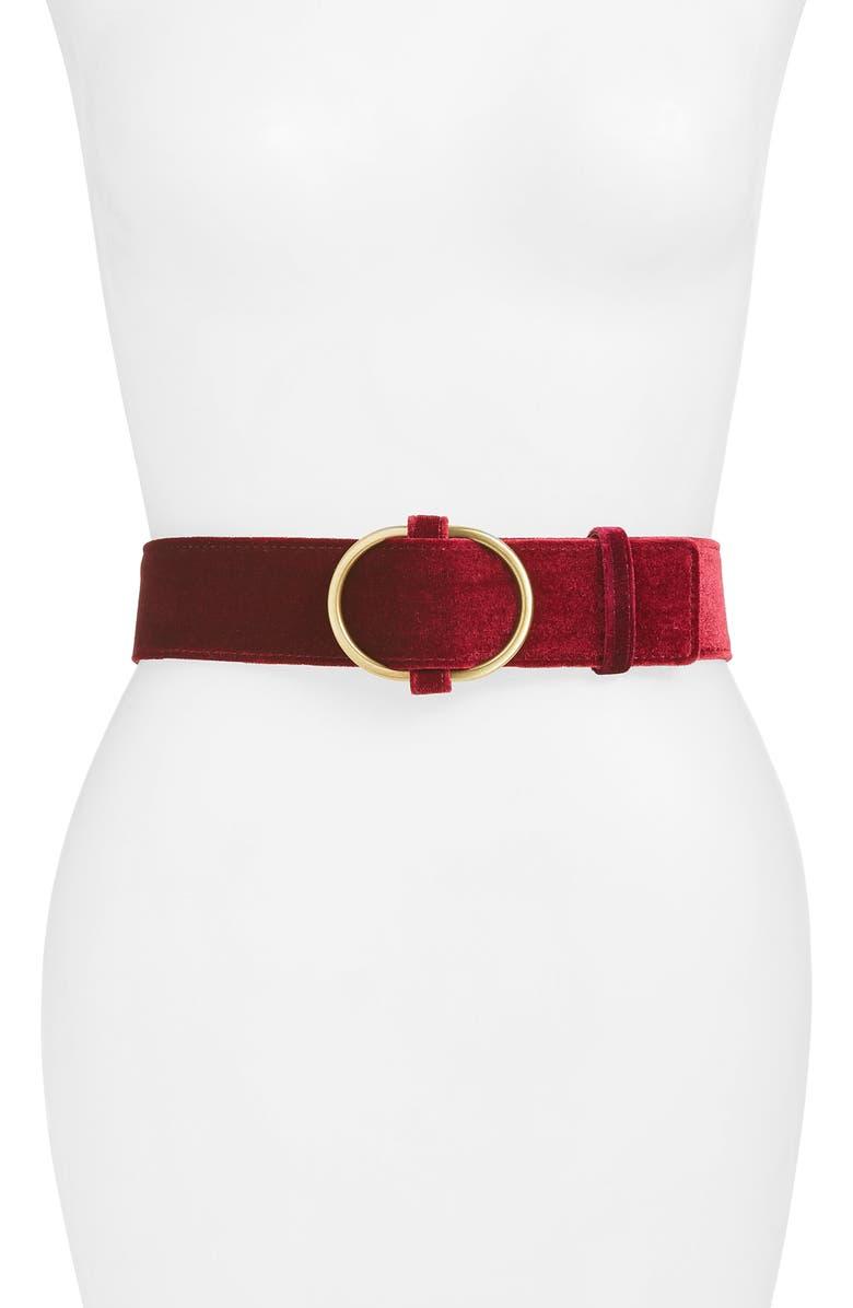 RACHEL PARCELL Oval Buckle Velvet Belt, Main, color, BURGUNDY