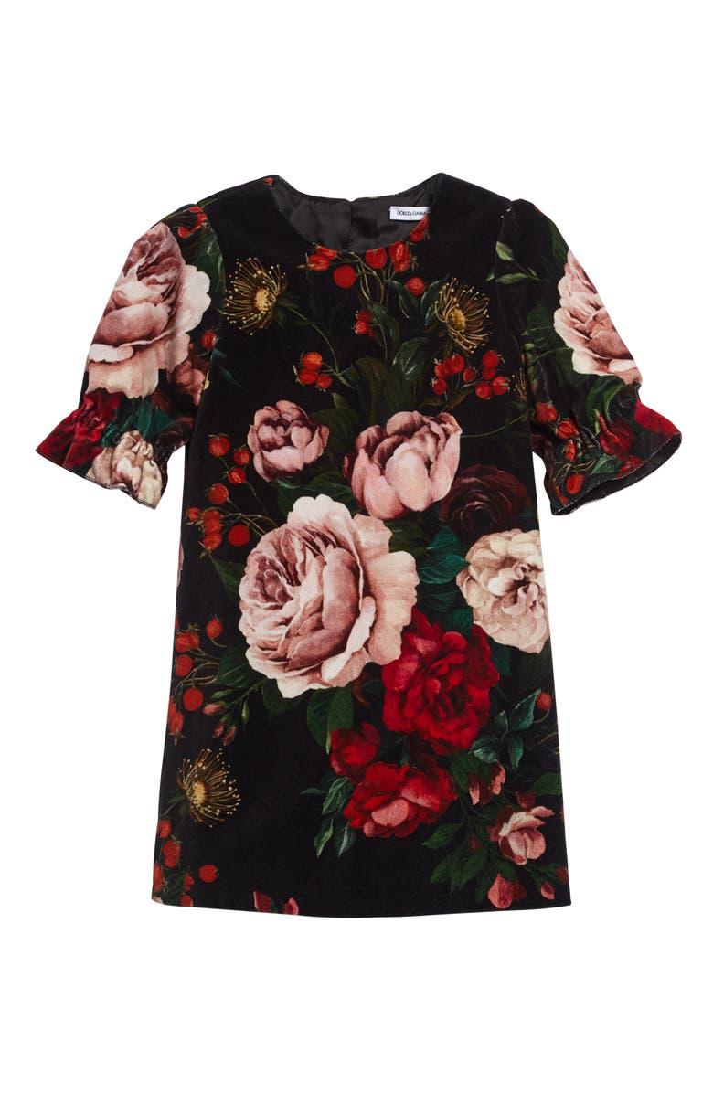 DOLCE&GABBANA Abito Flare Cuff Dress, Main, color, ROSE/ BLACK