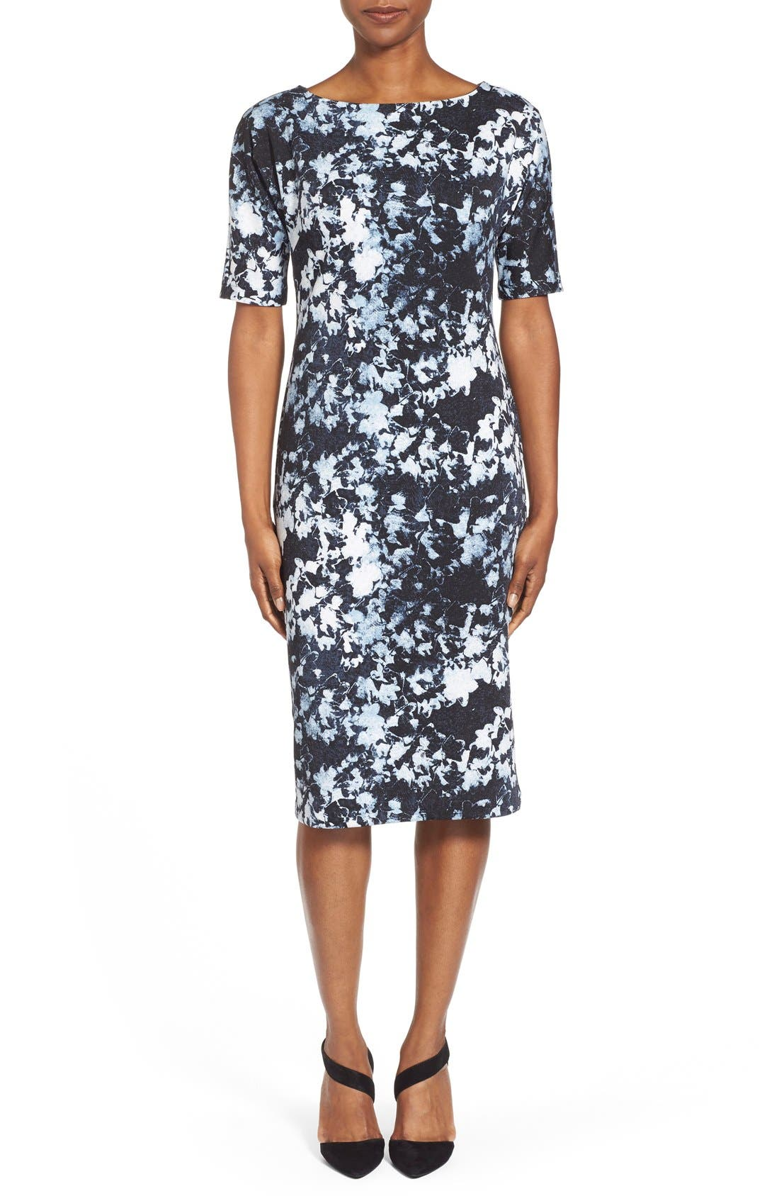 ,                             'Bustling Floral' Print Scuba Knit Sheath Dress,                             Main thumbnail 4, color,                             426