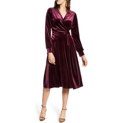 Halogen Velvet Faux Wrap Dress, Burgundy