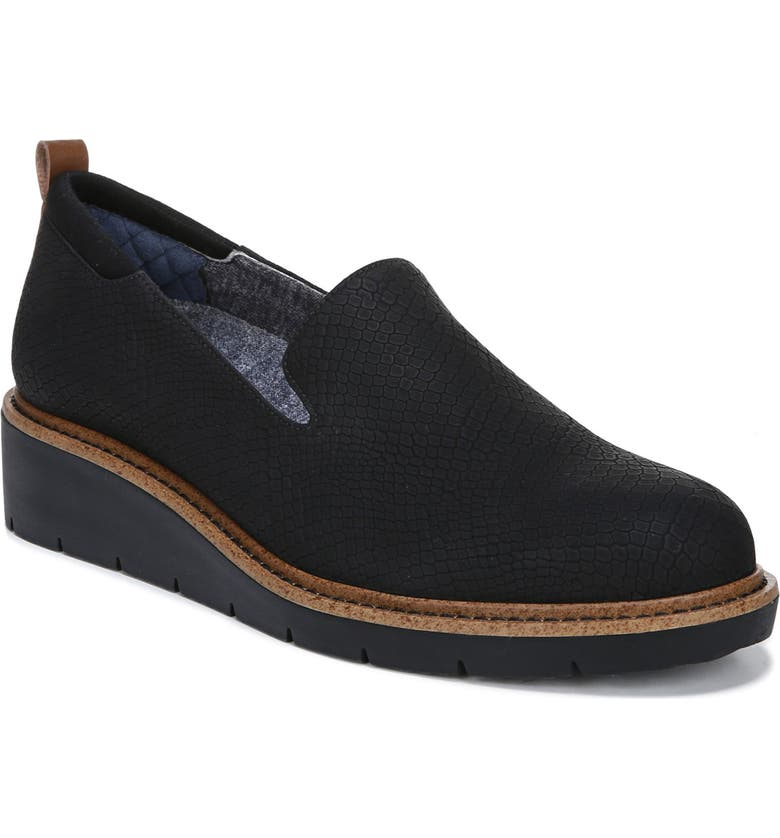 DR. SCHOLL'S Sidekick Wedge Loafer, Main, color, BLACK FAUX LEATHER