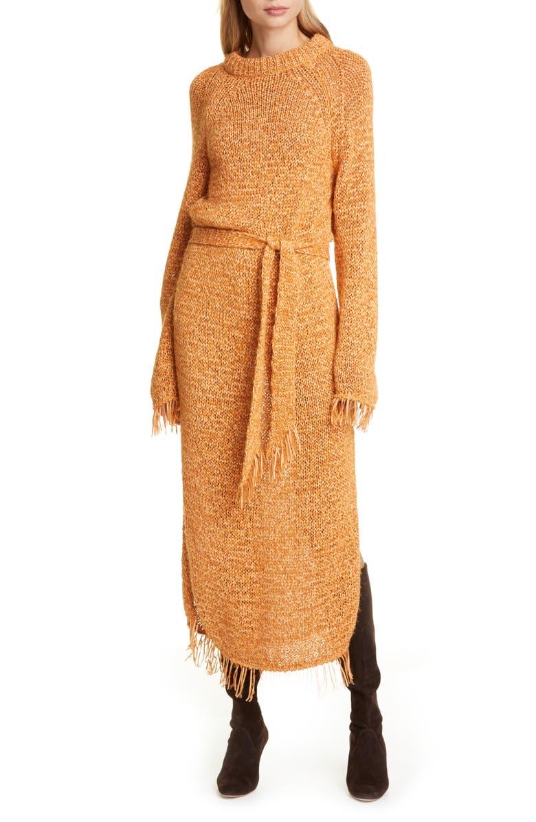NANUSHKA Kaiza Belted Long Sleeve Fringe Sweater Dress, Main, color, 846