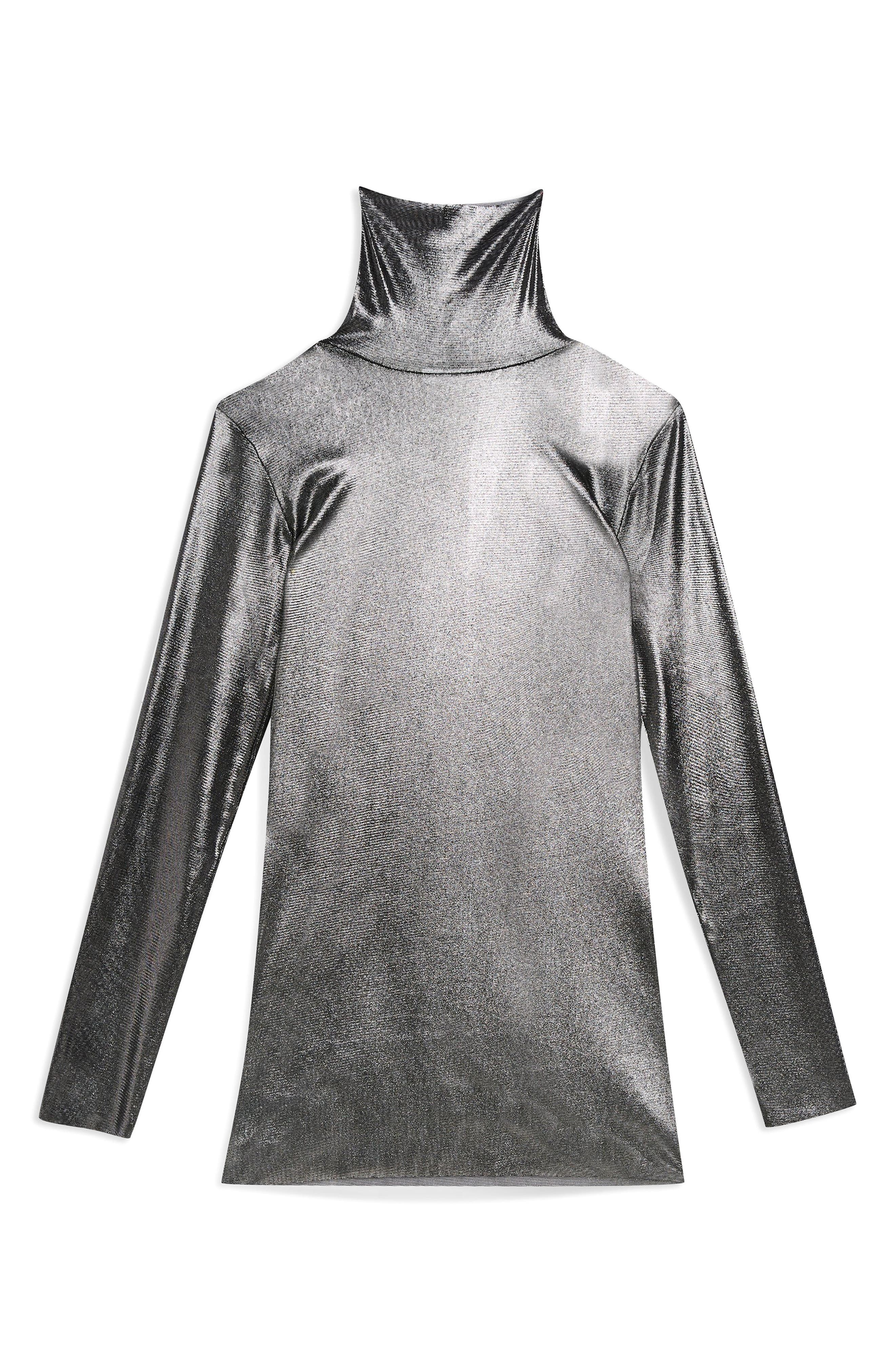 ,                             Metallic Funnel Neck Top,                             Alternate thumbnail 4, color,                             040