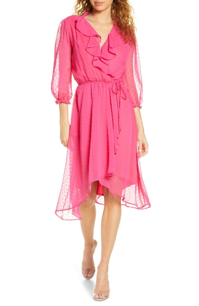 FRAICHE BY J Ruffle Clip Dot Chiffon Faux Wrap Dress, Main, color, PINK
