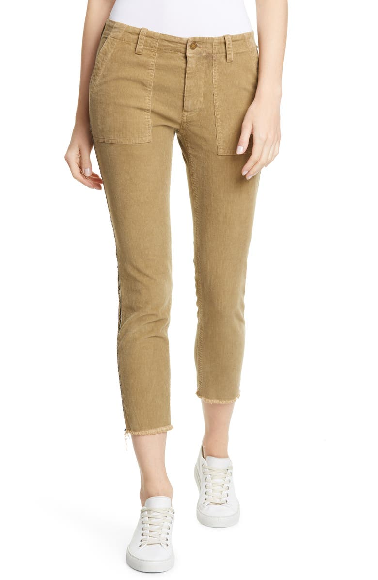 NILI LOTAN Jenna Corduroy Side Tape Crop Pants, Main, color, MOSSY GOLD W/ BLACK GOLD TAPE