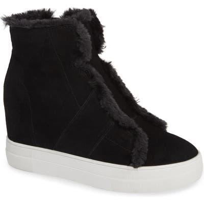 Very Volatile Bonnet Faux Fur Wedge Sneaker Bootie, Black