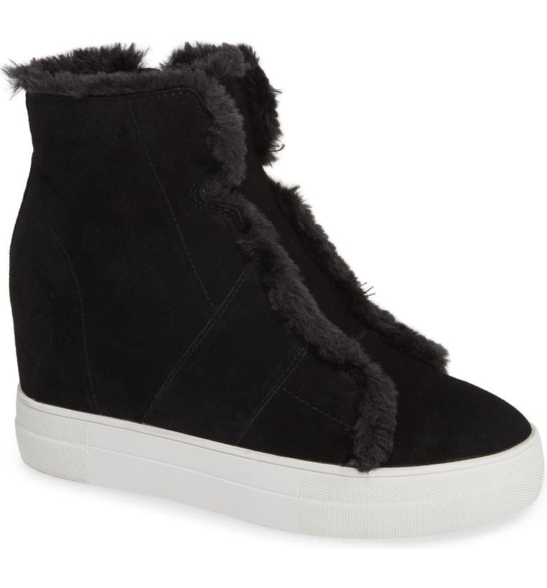 VERY VOLATILE Bonnet Faux Fur Wedge Sneaker Bootie, Main, color, BLACK LEATHER