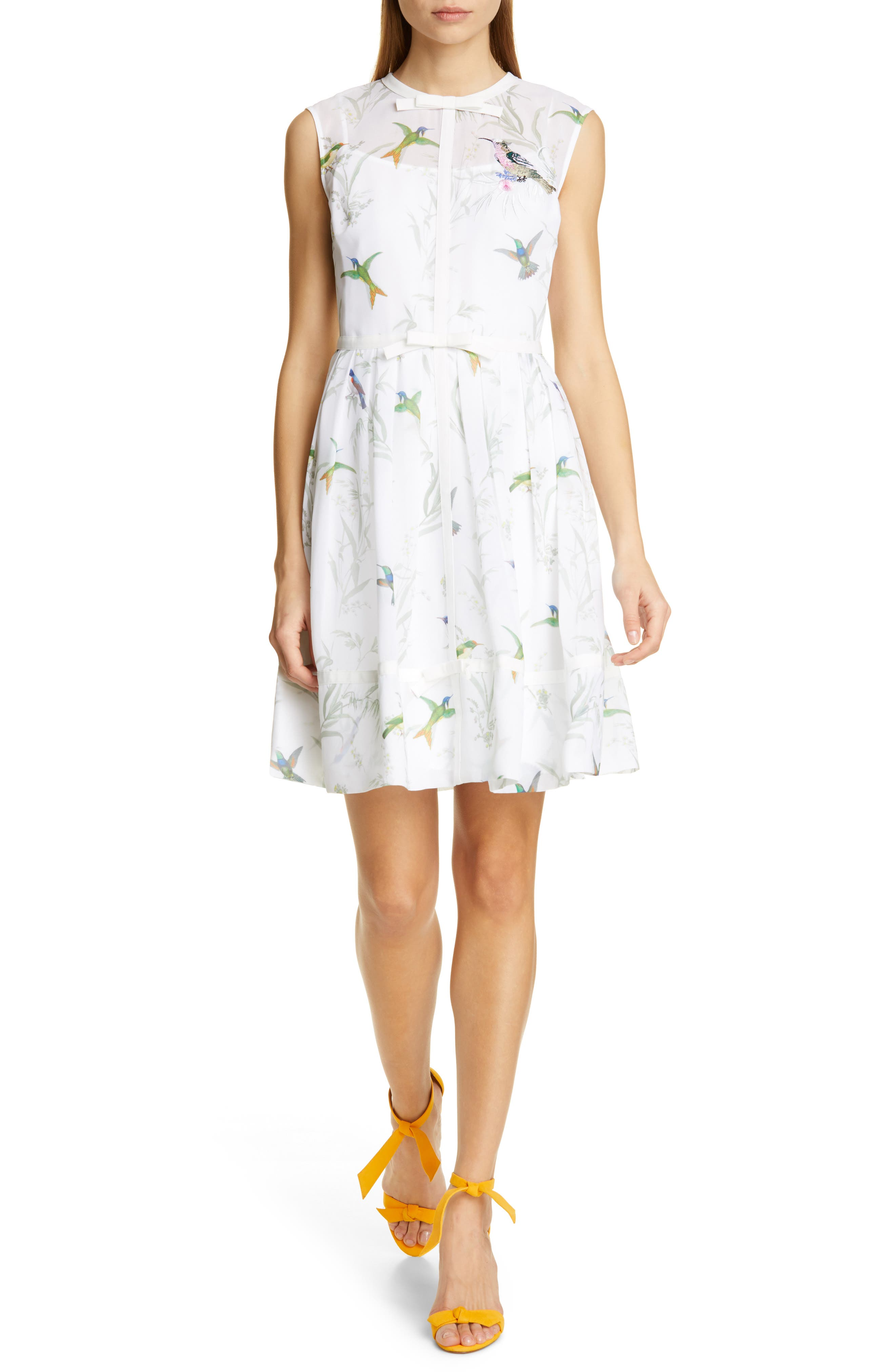 Ted Baker London Aleksa Fortune Fit & Flare Dress, White
