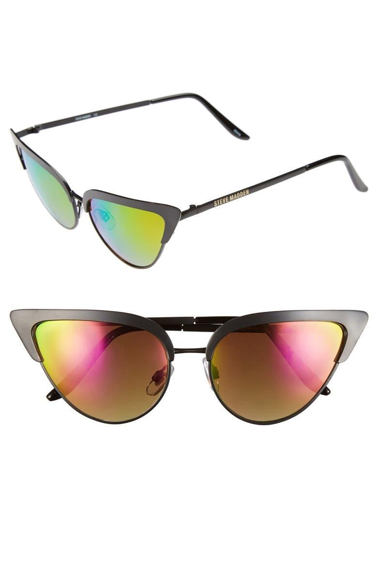 STEVE MADDEN 53mm Vintage Metal Cat Eye Sunglasses, Main, color, 001