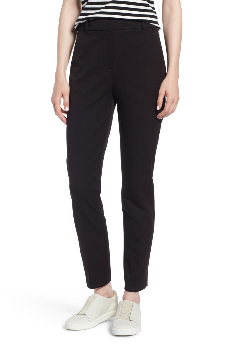 J.CREW Cameron Seasonless High Rise Crop Pants, Main, color, BLACK