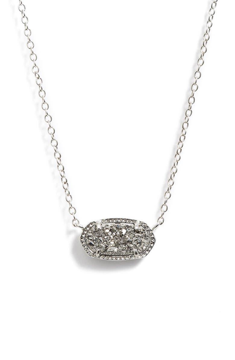 KENDRA SCOTT Elisa Pendant Necklace, Main, color, SILVER/ PLATINUM DRUSY