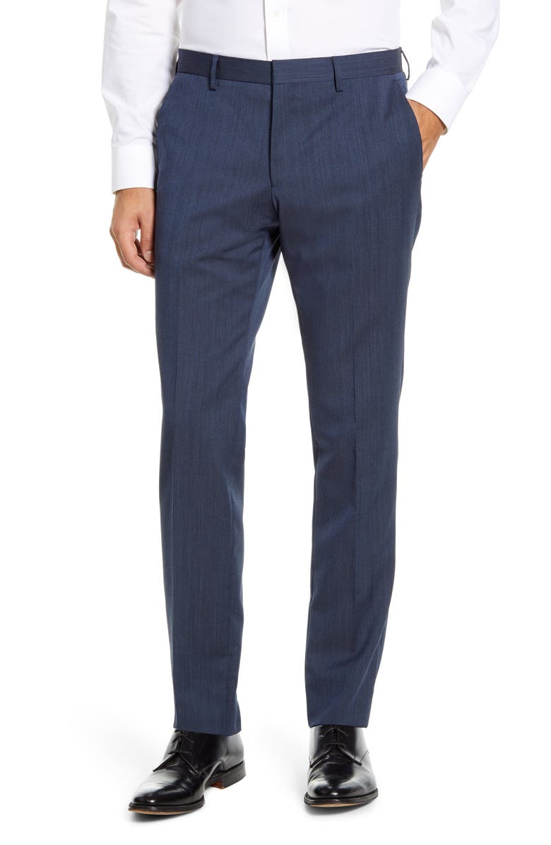 BOSS Genius Flat Front Twill Wool Trousers, Main, color, OPEN BLUE