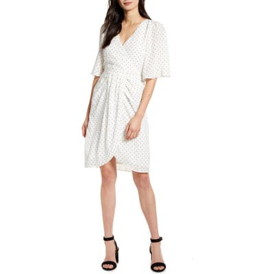 Cupcakes And Cashmere Estrella Dot Print Crinkle Chiffon Dress, Ivory