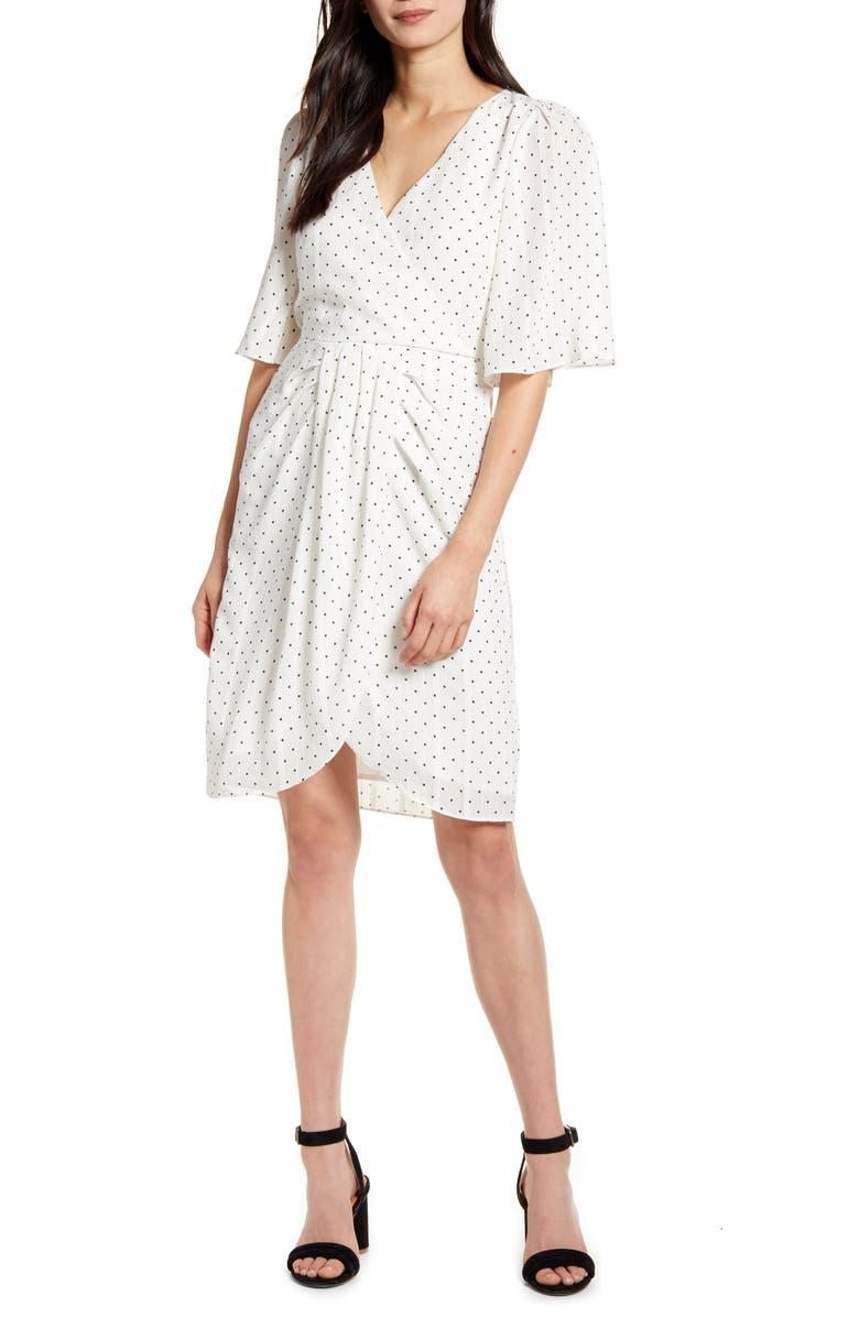CUPCAKES AND CASHMERE Estrella Dot Print Crinkle Chiffon Dress, Main, color, IVORY