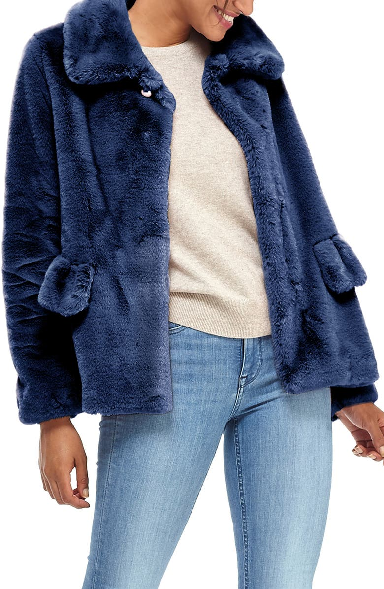 GAL MEETS GLAM COLLECTION Faux Fur Jacket, Main, color, NAVY