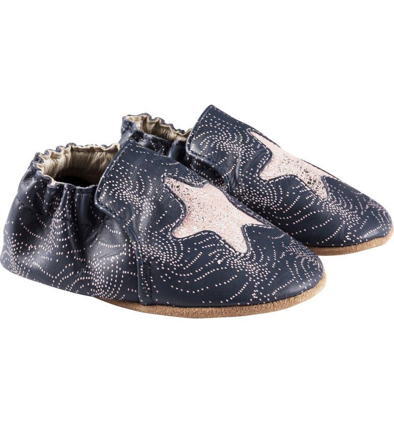 ROBEEZ<SUP>®</SUP> Solar Fun Metallic Star Crib Shoe, Main, color, NAVY