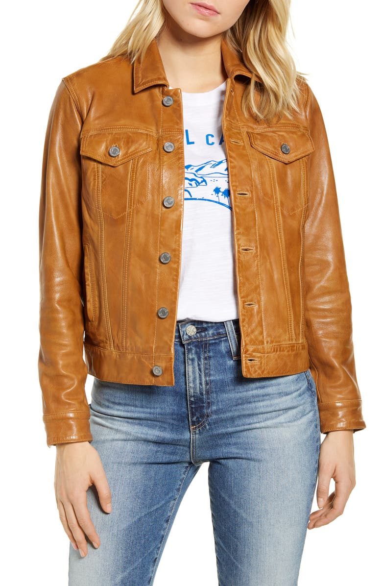 LUCKY BRAND Leather Trucker Jacket, Main, color, 210
