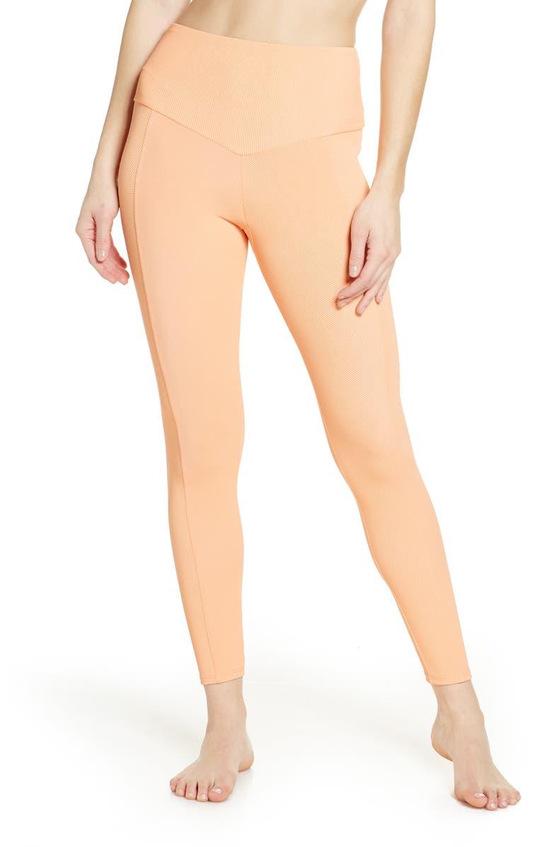 ONZIE Sweetheart Rib Midi Leggings, Main, color, CANTALOUPE RIB