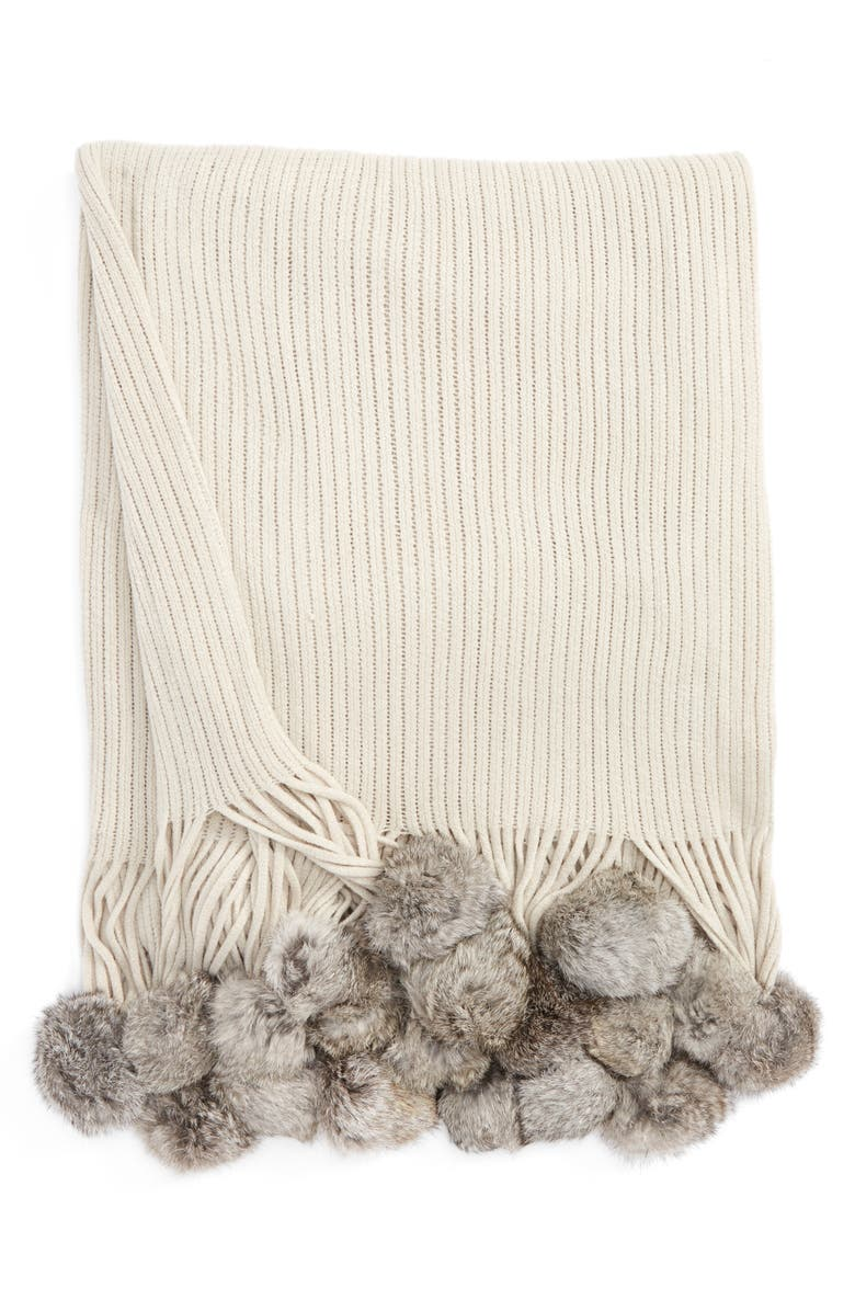 ECHO Genuine Rabbit Fur Pompom Rib Knit Throw, Main, color, 040