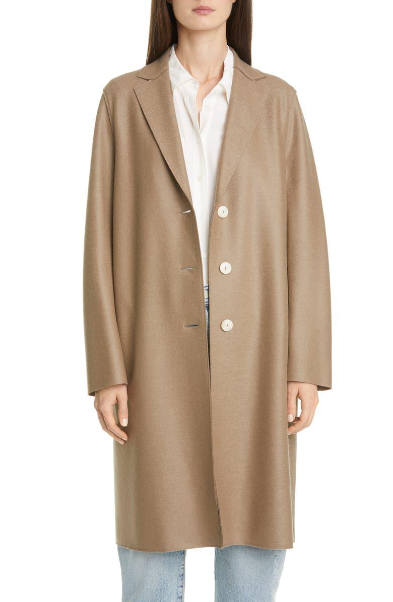 HARRIS WHARF LONDON Pressed Wool Coat, Main, color, TAUPE