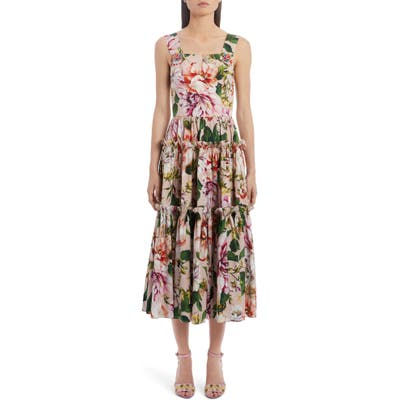 Dolce & gabbana Tiered Floral Cotton Poplin Midi Dress, US / 42 IT - Pink