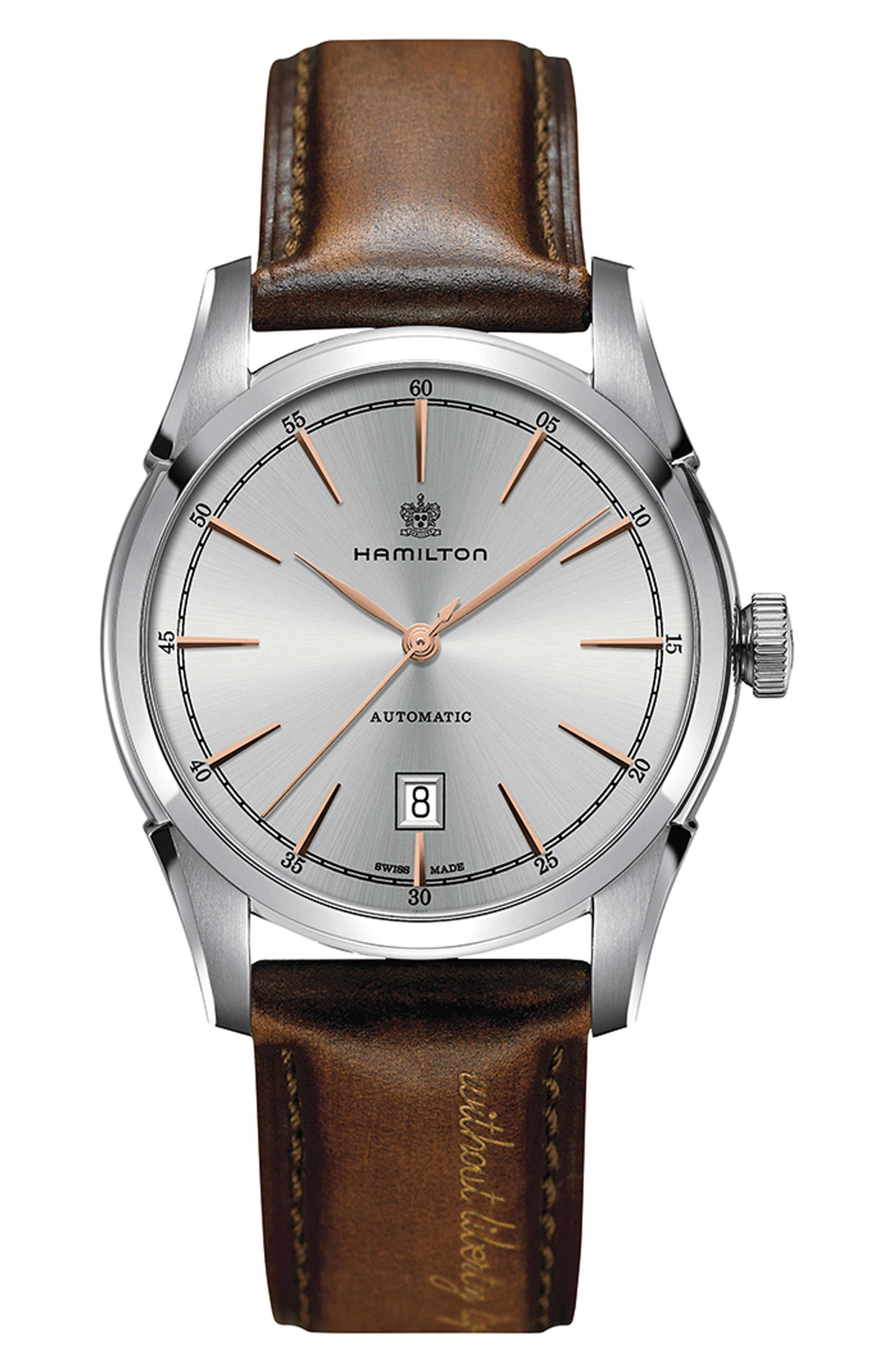 American Classic Automatic Leather Strap Watch