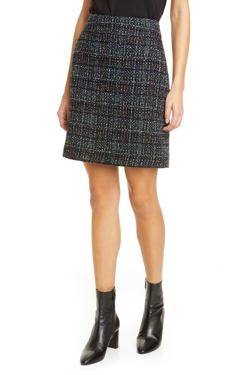 AKRIS PUNTO Metallic Tweed A-Line Miniskirt, Main, color, 001