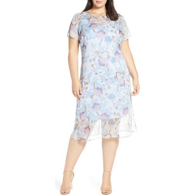 Plus Size Vince Camuto Poetic Blooms Overlay Midi Dress, Green