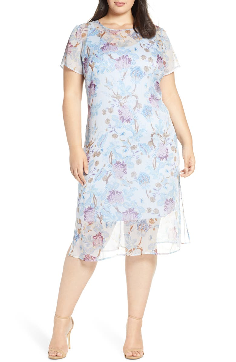 VINCE CAMUTO Poetic Blooms Overlay Midi Dress, Main, color, SOFT BLUEBELL