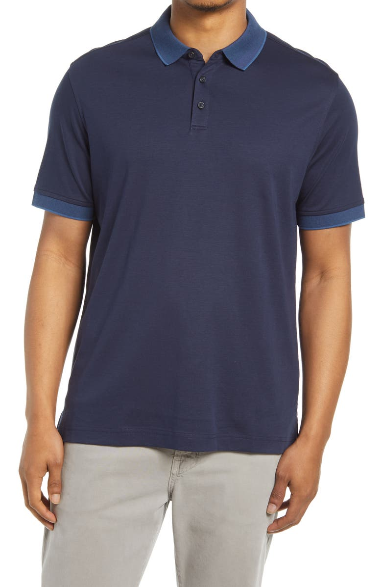 NORDSTROM Short Sleeve Tipped Polo, Main, color, NAVY BLAZER