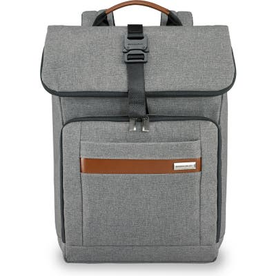 Briggs & Riley Medium Rfid Pocket Foldover Laptop Backpack - Grey