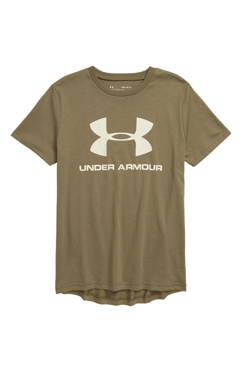UNDER ARMOUR Sportstyle Logo T-Shirt, Main, color, OUTPOST GREEN/ BUTTER WHITE