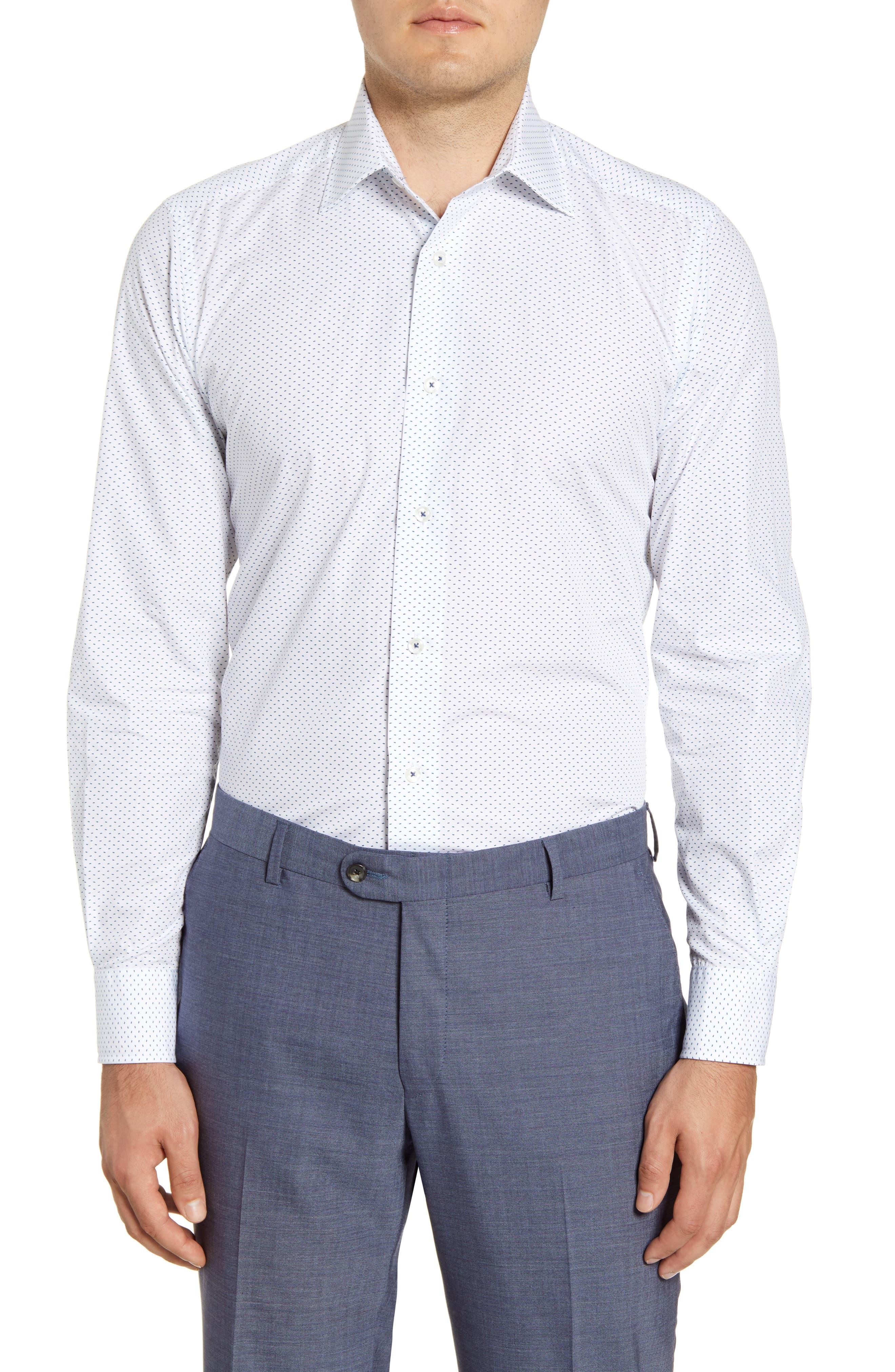 Image of David Donahue Micro Geo Print Slim Fit Dress Shirt