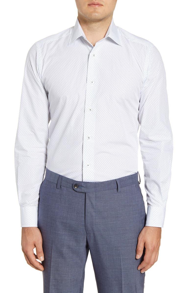 DAVID DONAHUE Slim Fit Geometric Dress Shirt, Main, color, WHITE/ NAVY