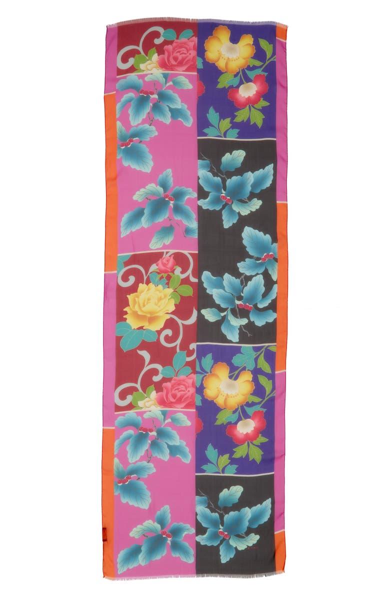 ETRO Shaal Fringe Silk Scarf, Main, color, PURPLE