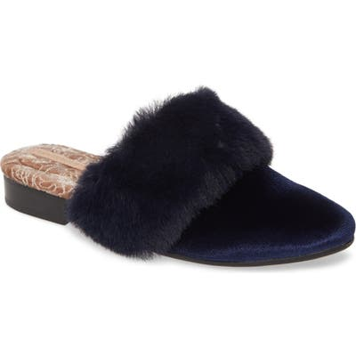 Taryn Rose Brailyn Faux Fur Trim Mule, Blue