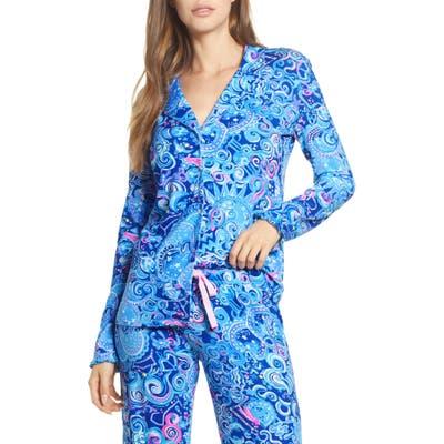 Lilly Pulitzer Ruffle Cuff Pajama Top, Blue