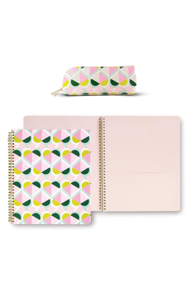 KATE SPADE NEW YORK geo pattern journaling set, Main, color, PINK