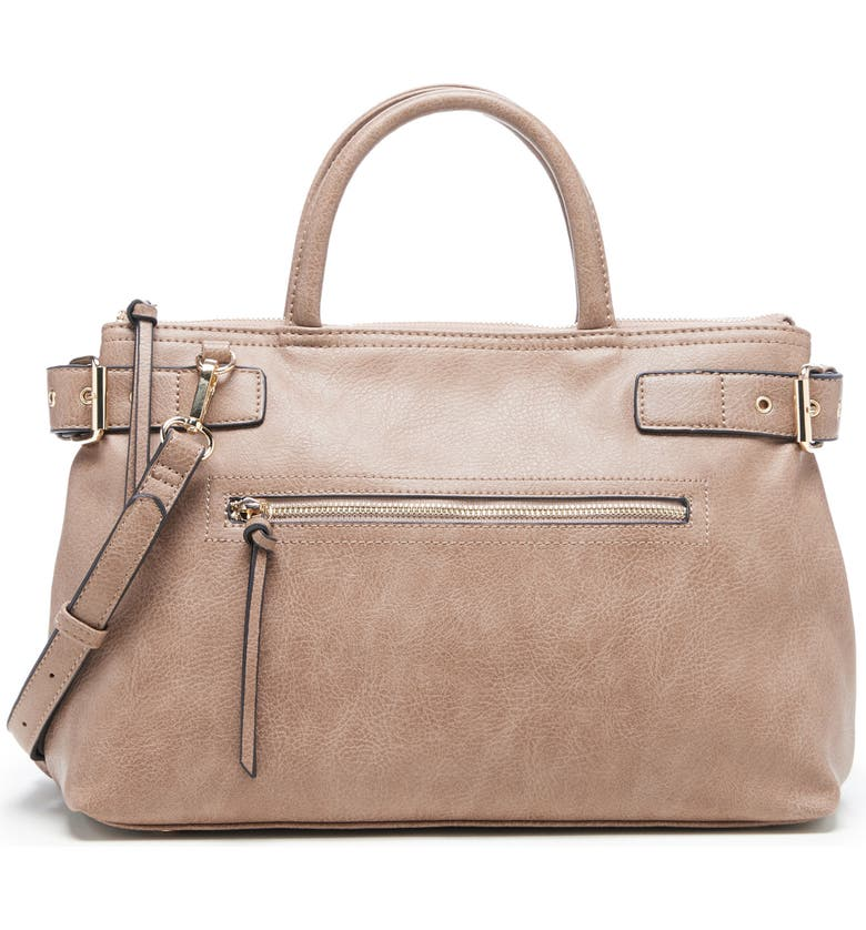 SOLE SOCIETY Dael Faux Leather Satchel, Main, color, TAUPE